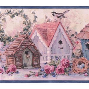 Chesapeake Flowers Birdhouses Vintage Wallpaper Border - 15' - Pink