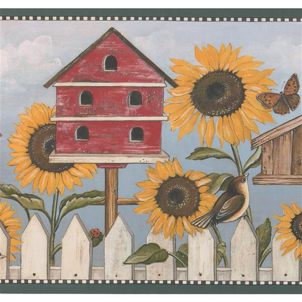 Retro Art Sunflower Birdhouse Wallpaper Border - 15' - Blue
