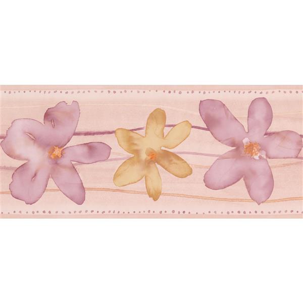 Norwall Lilac Flowers Bathroom Wallpaper Border - 15' x 7-in- Blush