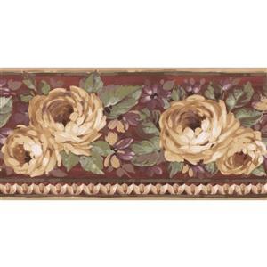 Norwall Blooming Roses Floral Wallpaper Border - 15' - Purple