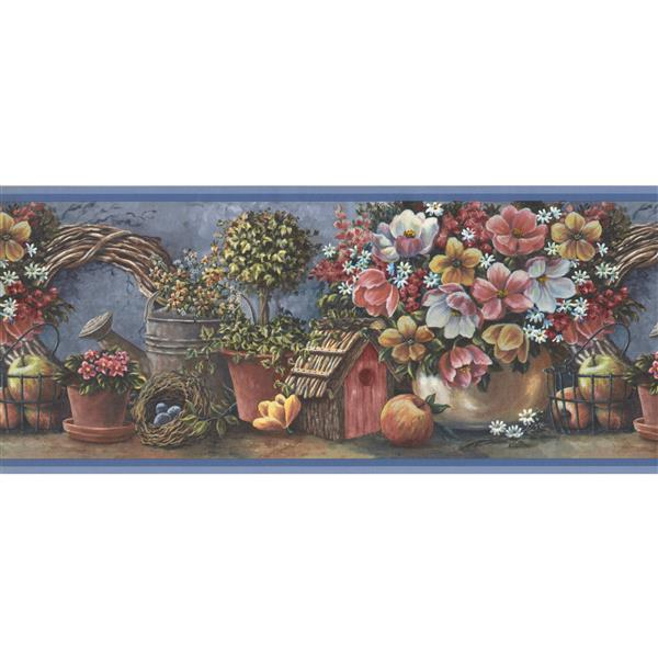 "Retro Art Flowers Fruits Wallpaper Border - 15' x 10.5"" - Blue"