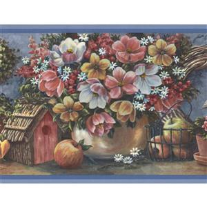 Flowers Fruits Wallpaper Border - 15' x 10.5