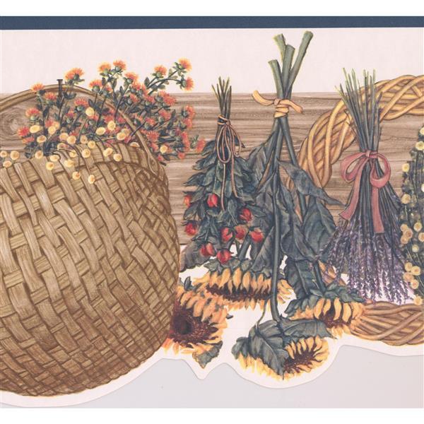 """Retro Art Floral Wreath Wallpaper Border - 15' x 9.25"""" - Multicolour"""