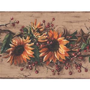 York Wallcoverings Sunflower Vintage Wallpaper Border - 15-ft x 6-in - Yellow