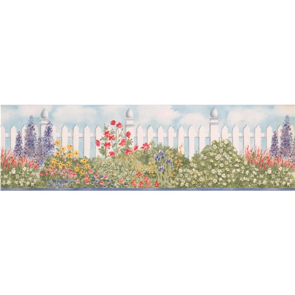 "Retro Art Fence Floral Wallpaper Border - 15' x 6.87"" - Blue"
