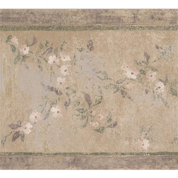 "Retro Art Pale Flowers Wallpaper Border - 15' x 8.75"" - Beige"