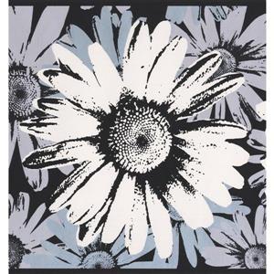 York Wallcoverings Abstract Flowers Wallpaper Border - 15-ft x 9-in - Black