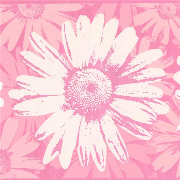York Wallcoverings Abstract Flowers Wallpaper Border - 15-ft x 9-in - Pink