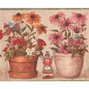 "Retro Art Flowers in Pots Wallpaper Border - 15' x 9"" - Red"