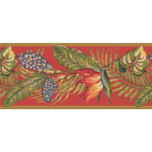 York Wallcoverings Floral Wallpaper Border - 15-ft x 10.5-in - Red