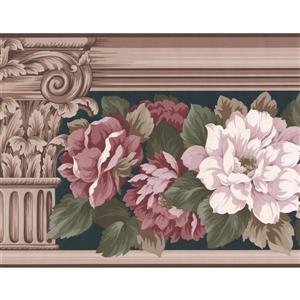 "Retro Art Floral Wallpaper Border - 15' x 8.75"" - Beige"