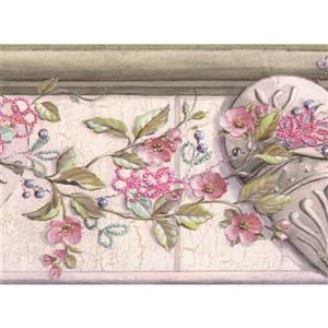 "Chesapeake Flowers on Vine Wallpaper Border - 15' x 6"" - Pink"