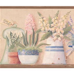 """Chesapeake Flowers in Pots Wallpaper Border - 15' x 7.5"""" - Beige"""