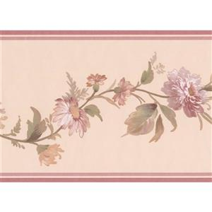"Retro Art Flowers on Vine Wallpaper Border - 15' x 7"" - Beige"