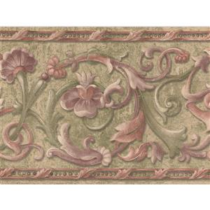 "Retro Art Vines Damask Wallpaper Border - 15' x 7"" - Green"