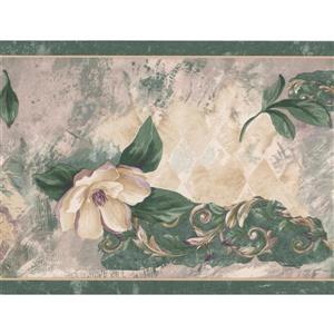 Retro Art Abstract Flowers Vintage Wallpaper Border - 15' x 7""