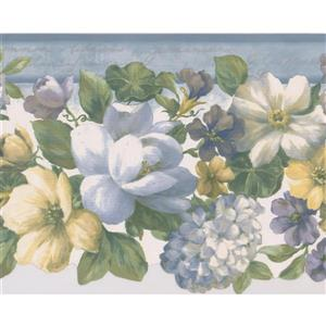 "Retro Art Blooming Flowers Wallpaper Border - 15' x 8.5"" - Blue"