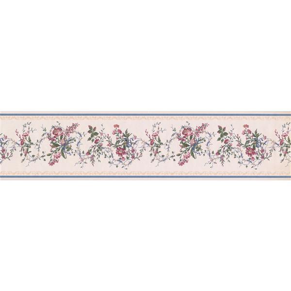 "Retro Art Berries Floral Wallpaper Border - 15' x 6"" - Pink"