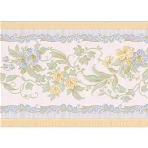 "Retro Art Flowers on Vine Wallpaper Border - 15' x 4"" - Yellow"