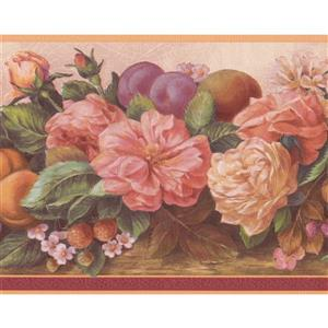 """Retro Art Flowers and Fruits Wallpaper Border - 15' x 7"""" - Pink"""