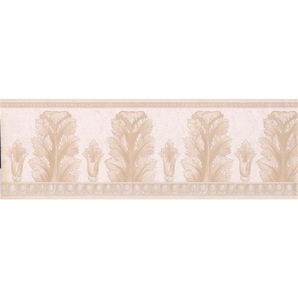 "Retro Art Abstract Floral Wallpaper Border - 15' x 7"" - Beige"