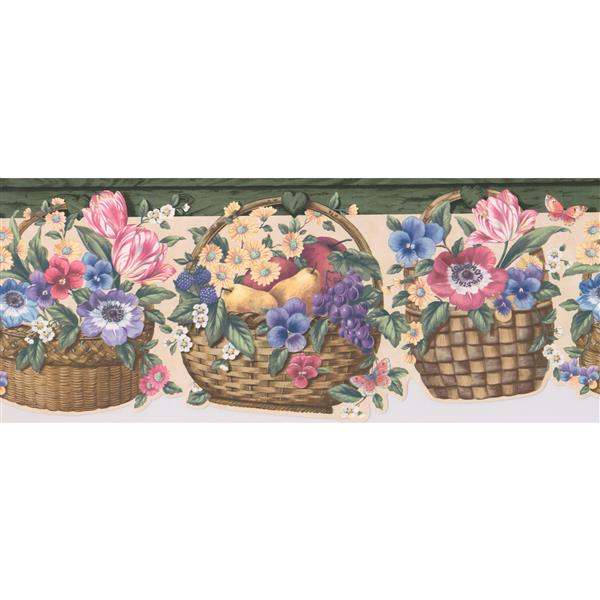 "Retro Art Fruits in Baskets Wallpaper Border - 15' x 8.4"""