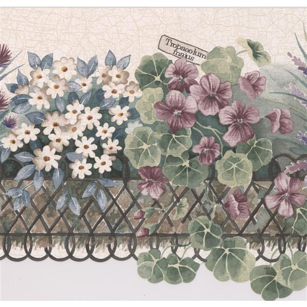"Retro Art Flowers on the Balcony Wallpaper Border - 15' x 9"" - Beige"
