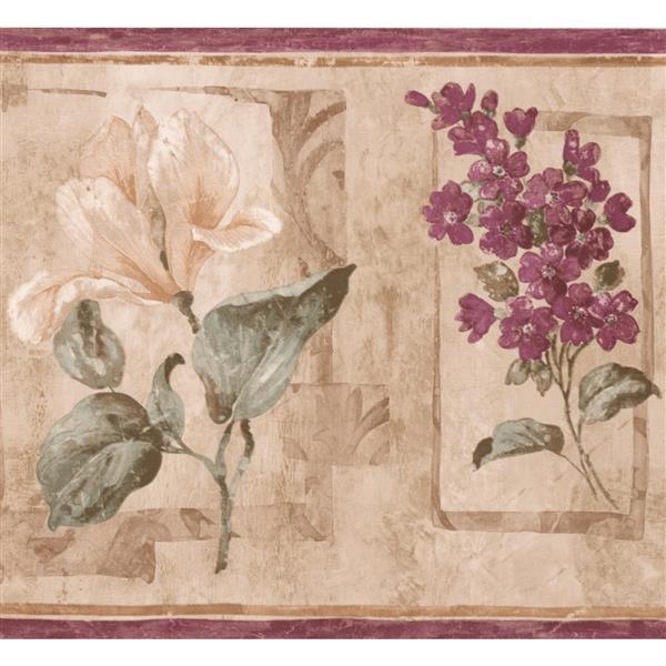 "Retro Art Abstract Floral Wallpaper Border - 15' x 8.25"" - Purple"