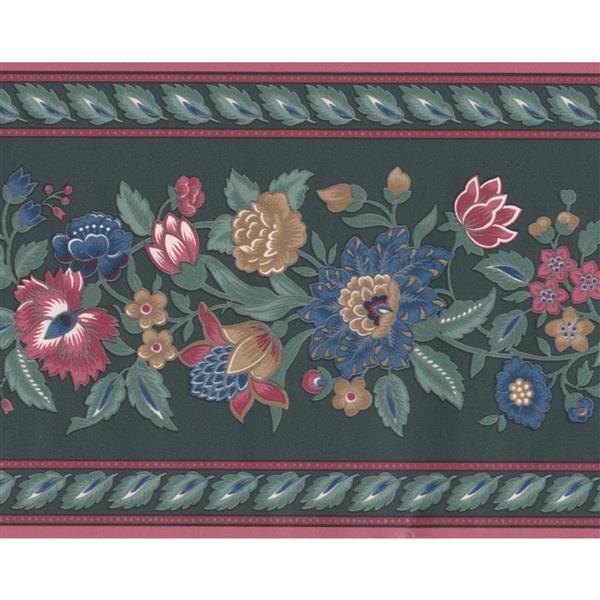 "Retro Art Cinnamon Flowers Wallpaper Border - 15' x 5"" - Green"