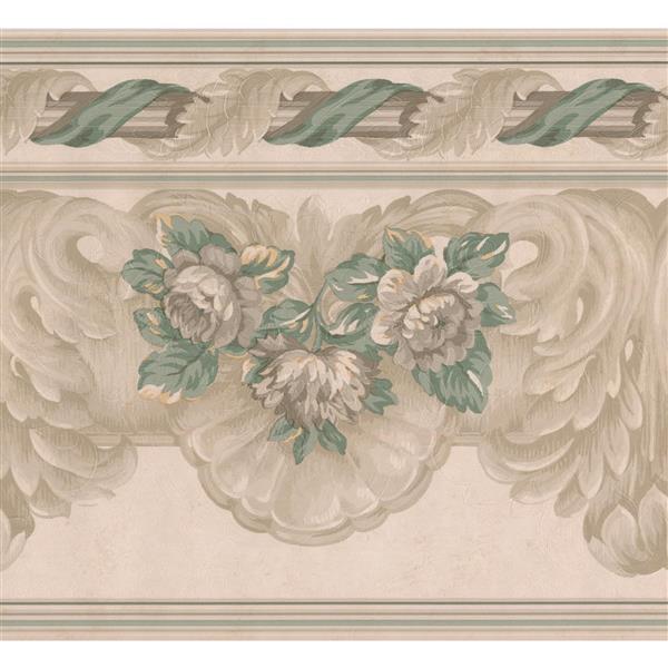 "Retro Art Floral Wallpaper Border - 15' x 9"" - Beige"