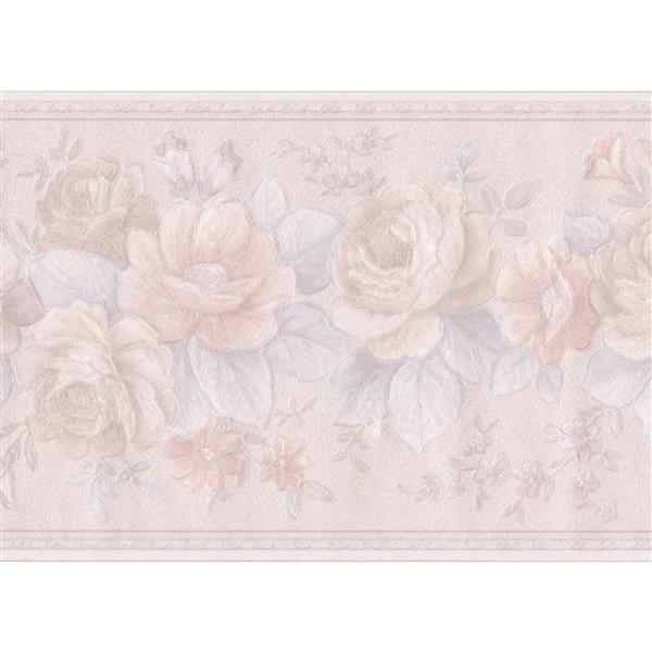 "Retro Art Blooming Roses Floral Wallpaper Border - 15' x 5.5"" - Beige"