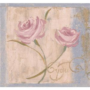 "Retro Art Vintage Floral Wallpaper Border - 15' x 7"" - Pink"