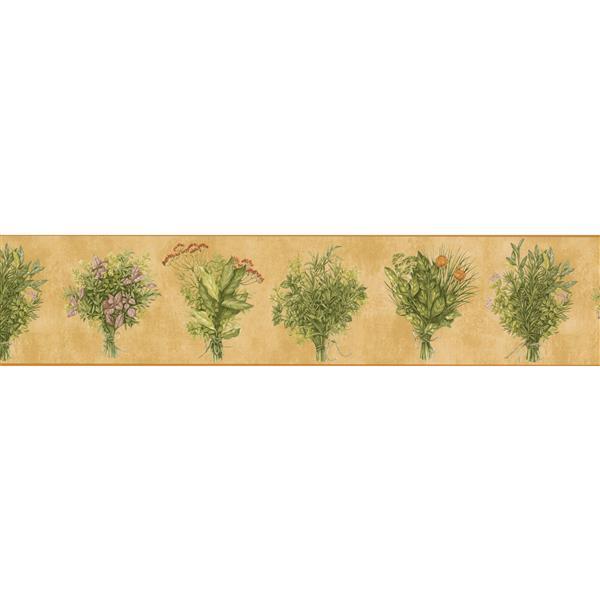 Norwall Green plants Flowers Wallpaper Border - 15' x 5.25-in- Yellow