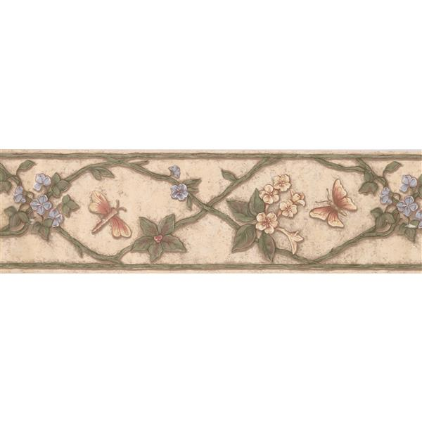 "Retro Art Floral Butterfly Wallpaper Border - 15' x 7"" - Multicolour"