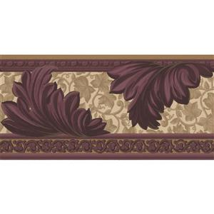 Norwall Abstract Floral Leaf Wallpaper Border - 15' x 5.25-in- Purple
