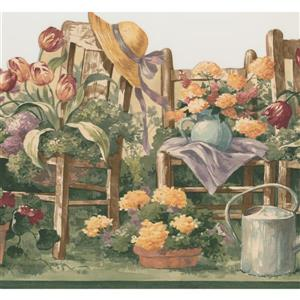 "Retro Art Floral Gardening Wallpaper Border - 15' x 10.2"" - Green"