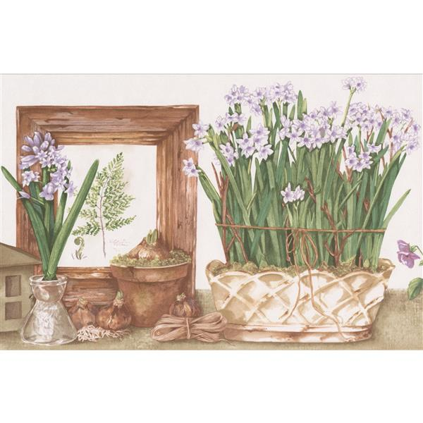 Norwall Potted Flowers Wallpaper Border - 15' x 7-in- Multicolour