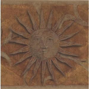 "Retro Art Face on the Sun Wallpaper Border - 15' x 6.75"" - Brown"