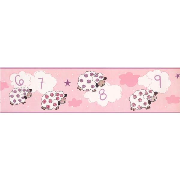 York Wallcoverings Sleeping Sheep Count Wallpaper Border - 15-ft x 6-in - Pink