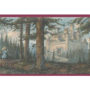 "Retro Art Princess Castle Wallpaper Border - 15' x 6"" - Green"