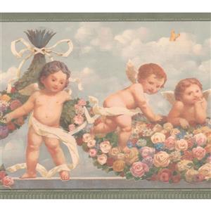 "Retro Art Baby Angels Wallpaper Border - 15' x 8.75"" - Blue"