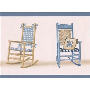 "Retro Art Rocking Chairs Wallpaper Border - 15' x 5.25"" - Blue"