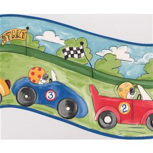 Retro Art Race Cars Wallpaper Border - 15' x 10""