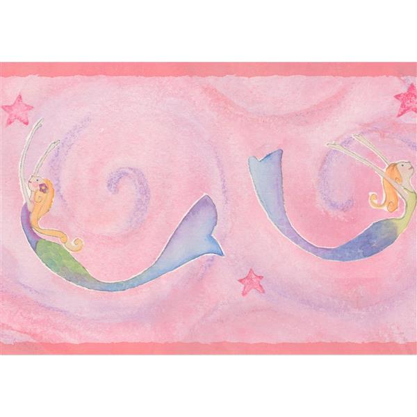 York Wallcoverings Mermaids in Damask Vines Wallpaper Border - 15-ft x 7-in - Pink