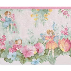 Norwall Retro Winged Fairies Wallpaper Border - 15' x 9.5-in- Pink