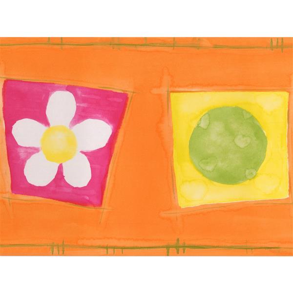 Norwall Flowers Balls Hearts Wallpaper Border - 15' x 7-in- Orange
