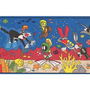 "Retro Art Looney Tunes Wallpaper Border - 15' x 8.25"" - Multicolour"