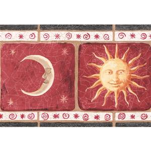 York Wallcoverings Vintage Smiling Sun Moon Wallpaper Border - 15-ft x 7-in - Red