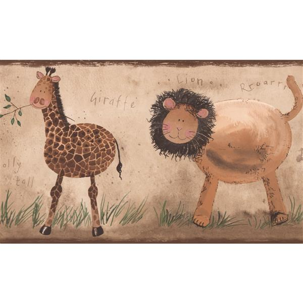 York Wallcoverings Lion Giraffe Elephant Wallpaper Border - 15-ft x 7-in - Beige