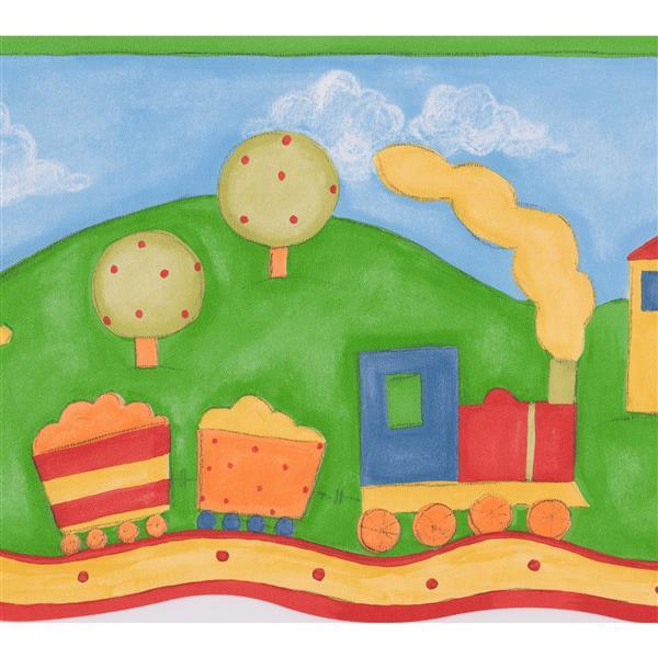"Retro Art Painted Country Life Wallpaper Border - 15' x 9.5"""